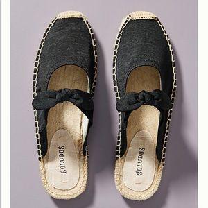 Soludos Alma Espadrille black flat mule size 8